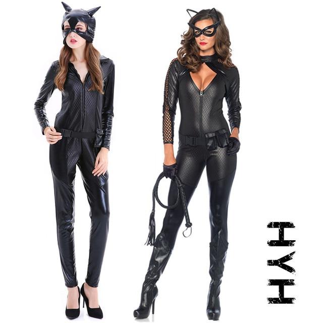 2018 Mới dành cho người lớn Trang Phục Mèo Người Phụ Nữ Da Jumpsuit Đêm Prowler Sexy Catwoman Catsuit Đen Mèo halloween trang phục cho phụ nữ