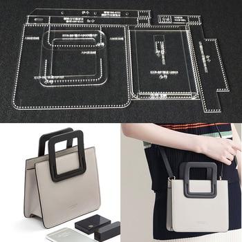 d15e36f2 Plantilla acrílica duradera patrón de plantillas de costura para DIY bolso  de hombro único hecho a mano patrón de costura Artesanal de cuero 18x16,5x8  cm