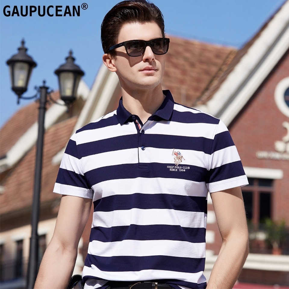 Man Short Sleeve   Polo   Shirt 95% Cotton 5% Spandex Breathable Summer Male 2018 Striped White Red Blue Pique Men   Polo  -shirt