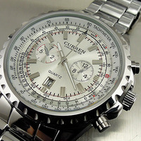 2013 NEW QUARTZ MILITARY STYLE STEEL WATCHES HOUR DIAL DATE WATER SILVER CLOCK SPORT MEN WRIST