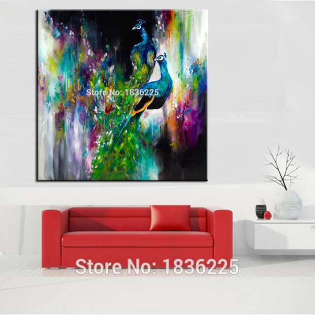Abstract Wall Painting Designs Animals Pictures Hand Painted Birds Oil Peacock On Canvas