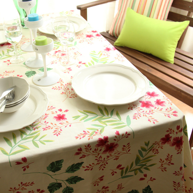Best Deal ! Korean Fashion Stripe Tablecloth Pure Cotton Floral Table Cloth for Home Dinner Holiday Ceremony Decor Kitchen Cover
