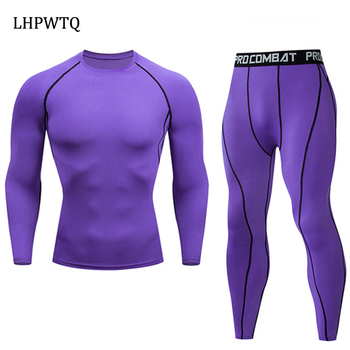 Quick Dry Men's   Thermal underwear Sets  Running Compression Sport Suits Basketball Tights Clothes Gym Fitness Jogging Sportswe