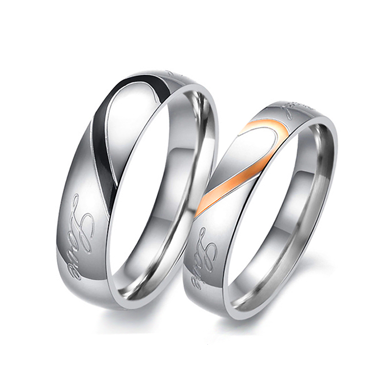 JEXXI Romantic Heart-shaped Fashion Silver Couple Rings Men Women Jewelry Gifts Lovers Wedding Engagement Party Rings Size 6-10