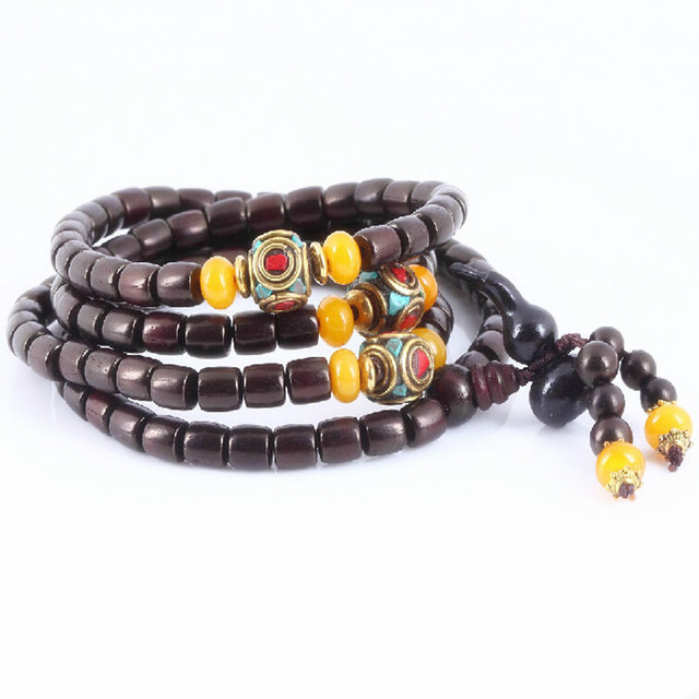 Ubeauty 6mm 108 natural red sandalwood beads bracelet  Tibetan buddha meditation prayer japa rosary  necklace