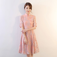 Pink Chinese Vintage Women Slim Sexy Qipao Flower Lace Handmade Button Dresses Elegant Lady Knee Length