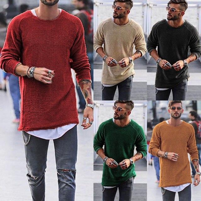 HIRIGIN najnowszy gorący 2018 moda mężczyźni z długim rękawem Casual Slim Fit koszulka z dzianiny Tee Top-Hip jesień Pop topy
