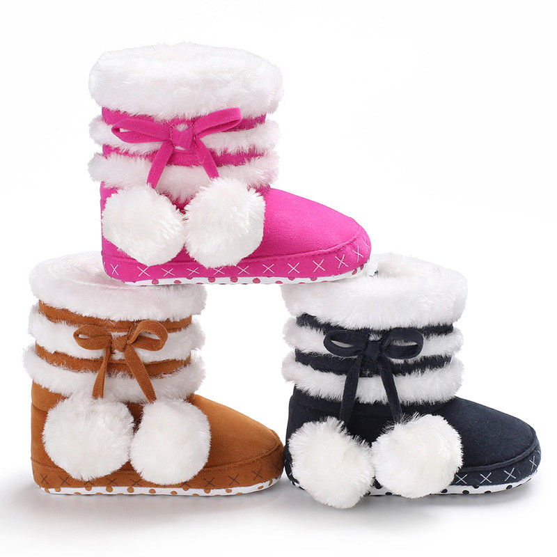 New Baby Kids Girls Winter Warm Fleece Knit Snow Boots Booties Infant Shoes 0-18Months