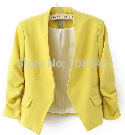 Solid Color Polyester Women Blazer Short Three Quarter Sleeve Women Suit Fashionable Outerwear Classic Women Blazer