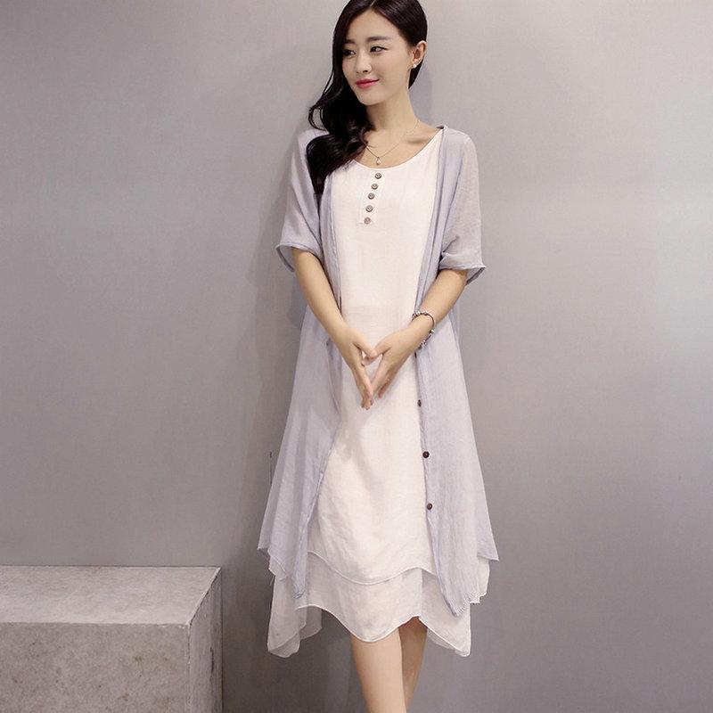 Envío Gratis 2017 Plus Szie Vestidos Mujeres Vestido de Dos Piezas de Ropa de Co