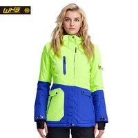 WHS 2016 Новый женщины лыжная куртка открытый водонепроницаемый и ветрозащитный теплое пальто женский лыжный костюм тепловой куртки зима