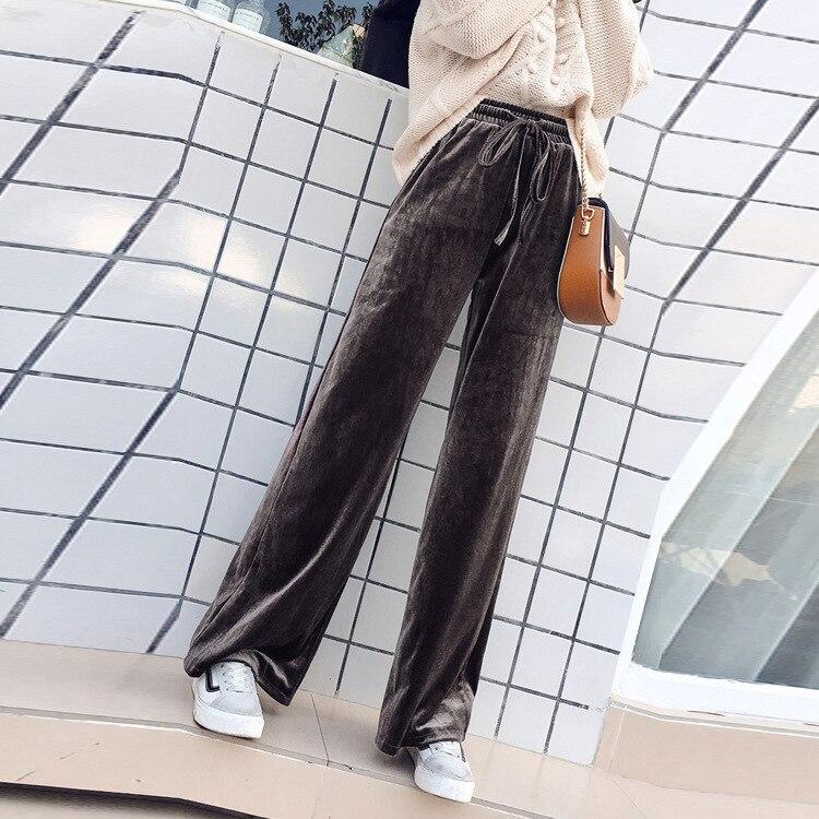 2018 Autumn New Pattern Korean Velvet Leisure Sports Pants Show Thin Wide Leg Woman 5