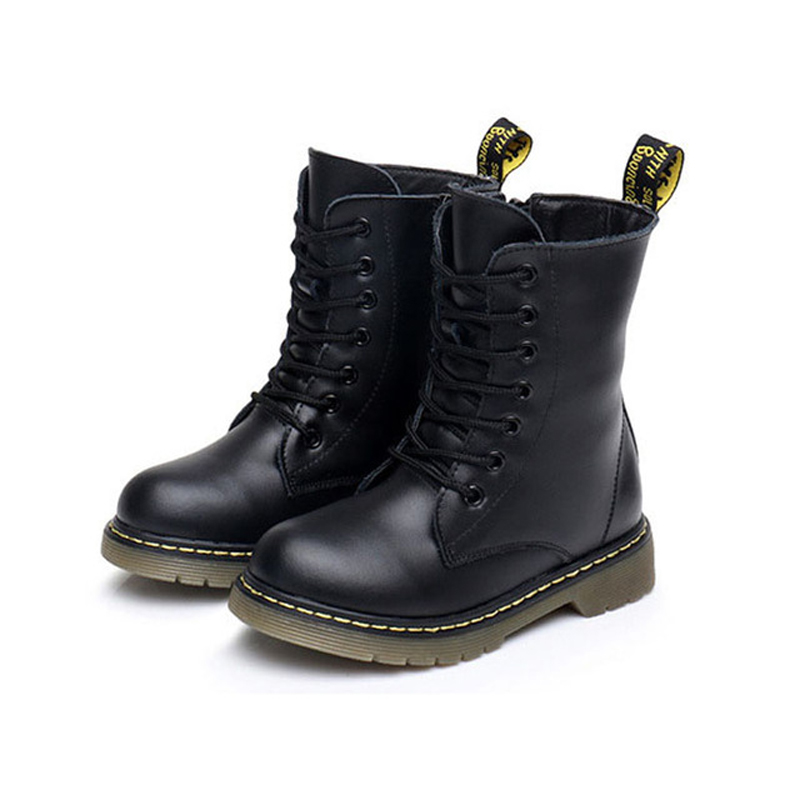 2018 Spring New Children Boots Girls Boys Mid-Calf Fashion Boots Kids Shoes Platform Child Genuine Leather Boots kelme 2016 new children sport running shoes football boots synthetic leather broken nail kids skid wearable shoes breathable 49