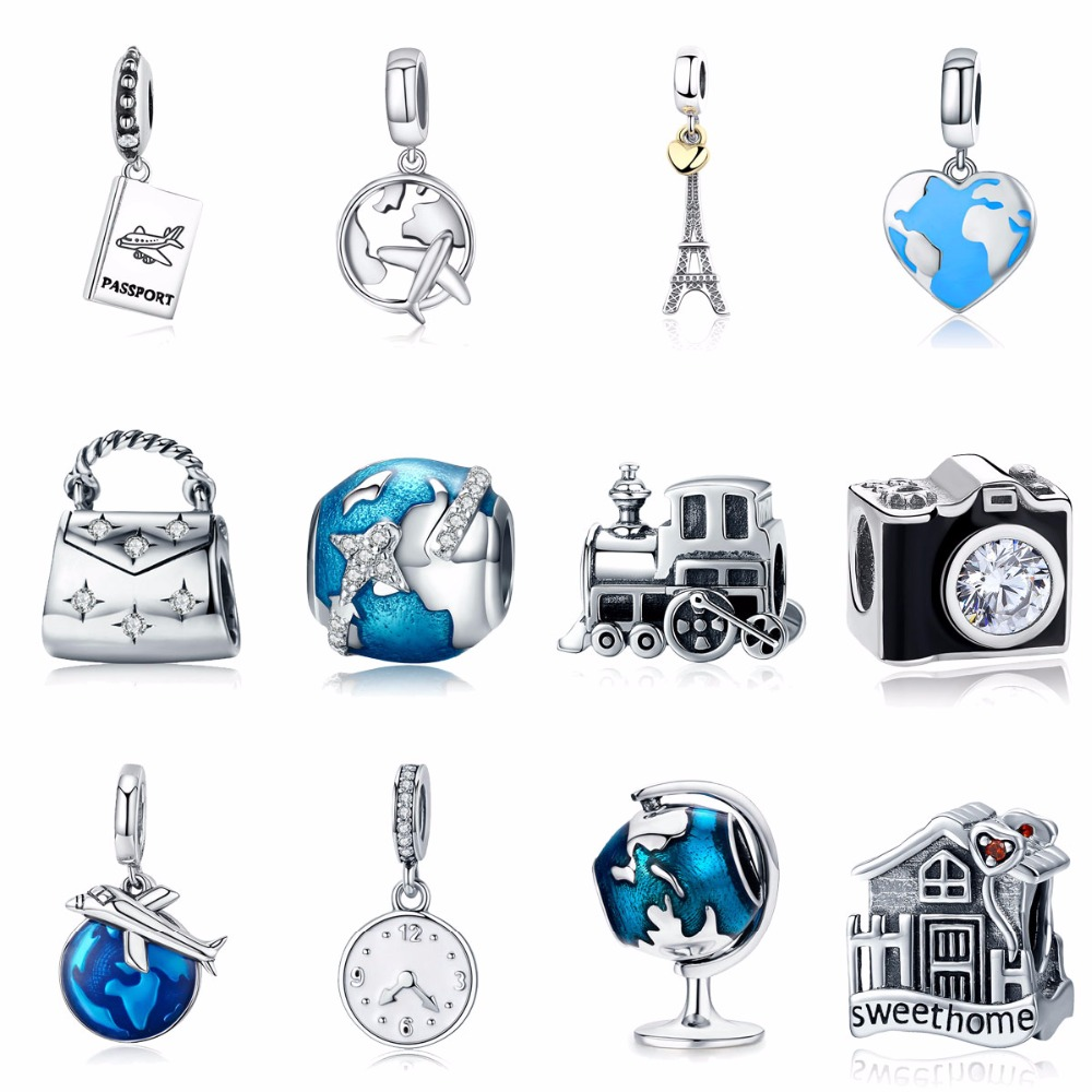 925 Sterling Silver Berloque Family House Eiffel Tower Camers