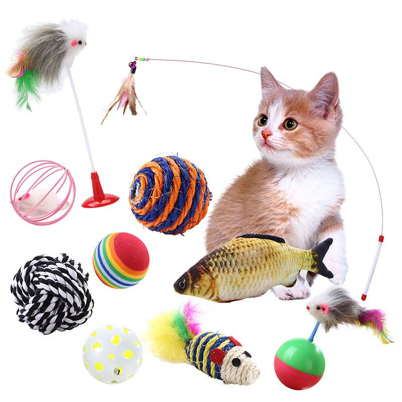 10pcs/set Plastic Cat Pet Sound Toy Cat Toys Hollow Out Round Pet Colorful Playing Ball Toys Fish Feather Toys Cat Products