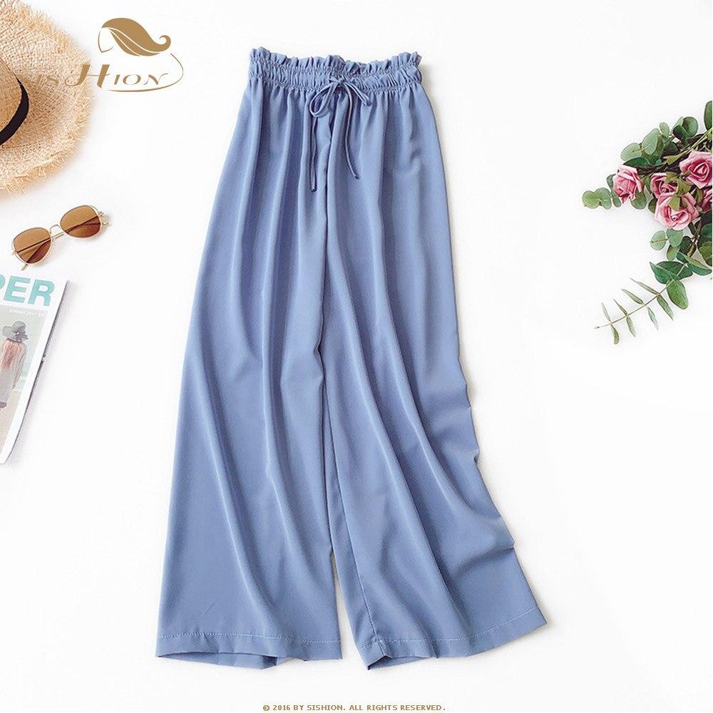 SISHION High Waist Chiffon   Wide     Leg     Pants   Women Summer QY0092 Drawstring Loose Solid Straight Casual One Size   Wide     Leg     Pants