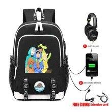 USB Charge Headphone Jack Men Women Laptop Bags teenagers School Bags Mochila College Students Bag Anime YURI On ICE backpack