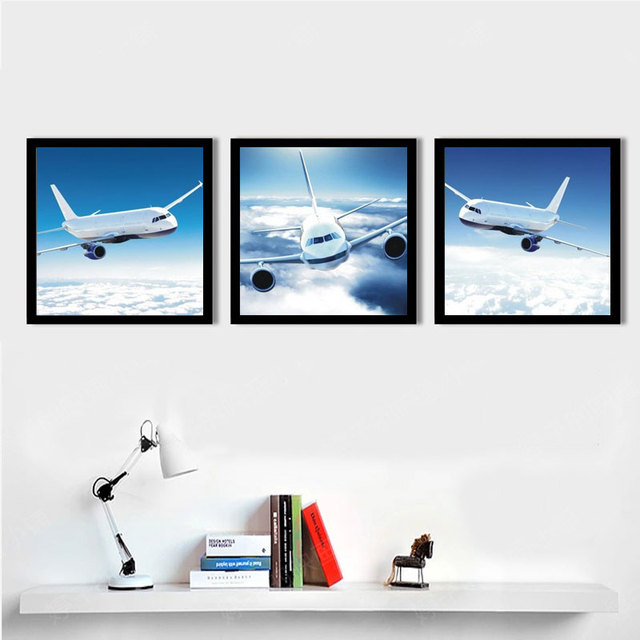 Wall Decor Painting Sky Airplane Canvas Painting For Living Rom Office  Decorative Pictures Canvas Art Print