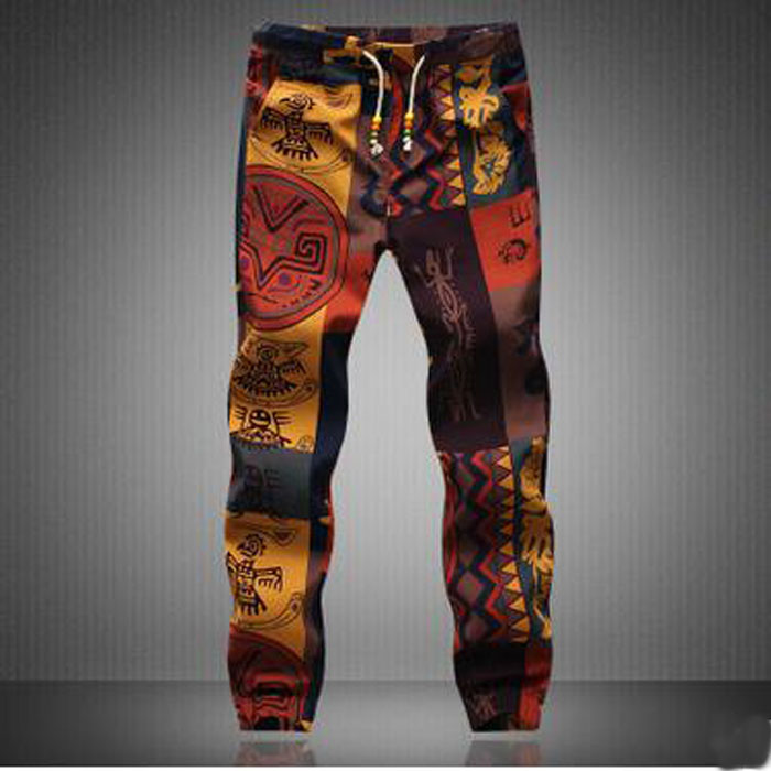 New Brand Summer Men's Pants Floral Cotton&Flax Trousers Casual Drawstring Mens Track Pants Camo Jogger Plus 5XL #V0