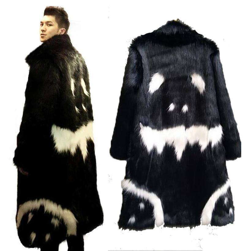 Winter Warm Unisex Faux Fur Long Jacket Black Gown Devil Plus Velvet Windbreaker G-dragon's Crooked Imitation Faux Fox Fur Coat