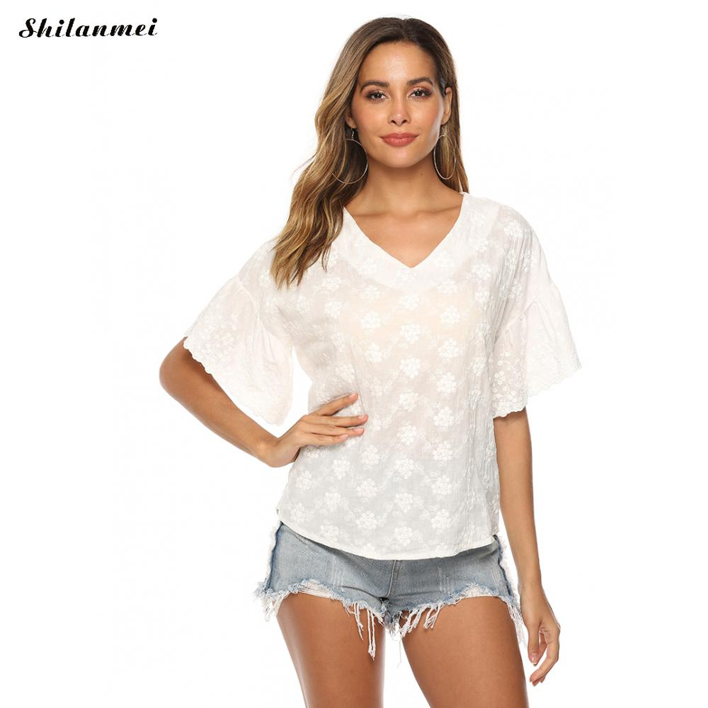 2019 Fashion White Solid Lace Casual Tshirts Short Falre Sleeve Elegant V-Neck Lace White Sweet Cotton Tshirts Women Tops Girls