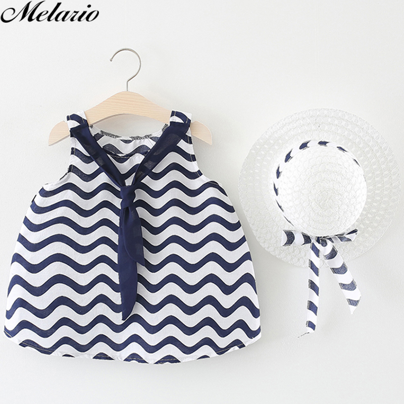Melarie Baby Girls Dress 2018 Summer Baby Girl Clothes Wavy Stripes Straw Hat Bow Strap Princess Dress Children Kids Dress