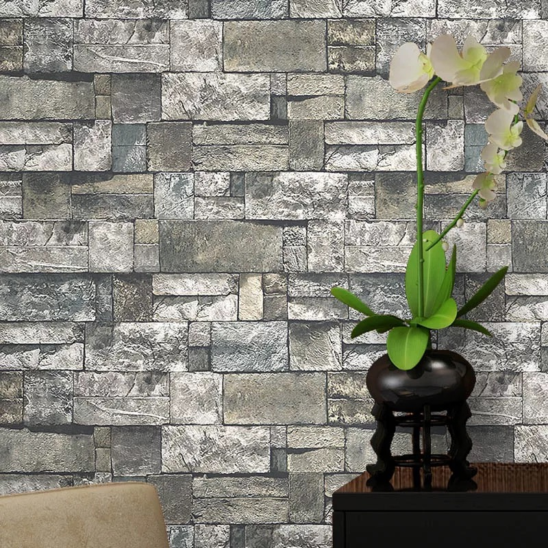 Vintage Rustic PVC Wallpapers For Walls 3D Home Decor Living Room Wall Papers Grey Brick Stone Wallpapers Rolls Bedroom Covering 2 sheet pcs 3d door stickers brick wallpaper wall sticker mural poster pvc waterproof decals living room bedroom home decor