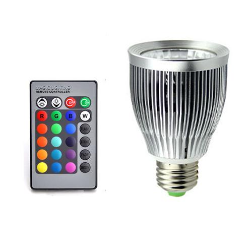 1 pcs AC 110 V ~ 220 V Dimmable E27 10 W Mudança de Cor RGB Lâmpada LED Lamp + 24 Chave Controle Remoto IR