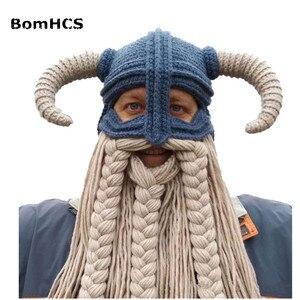 Bomhcs vikings beanies barba chifre chapéus feitos à mão bonés de malha masculino feminino aniversário presentes frescos festa máscara