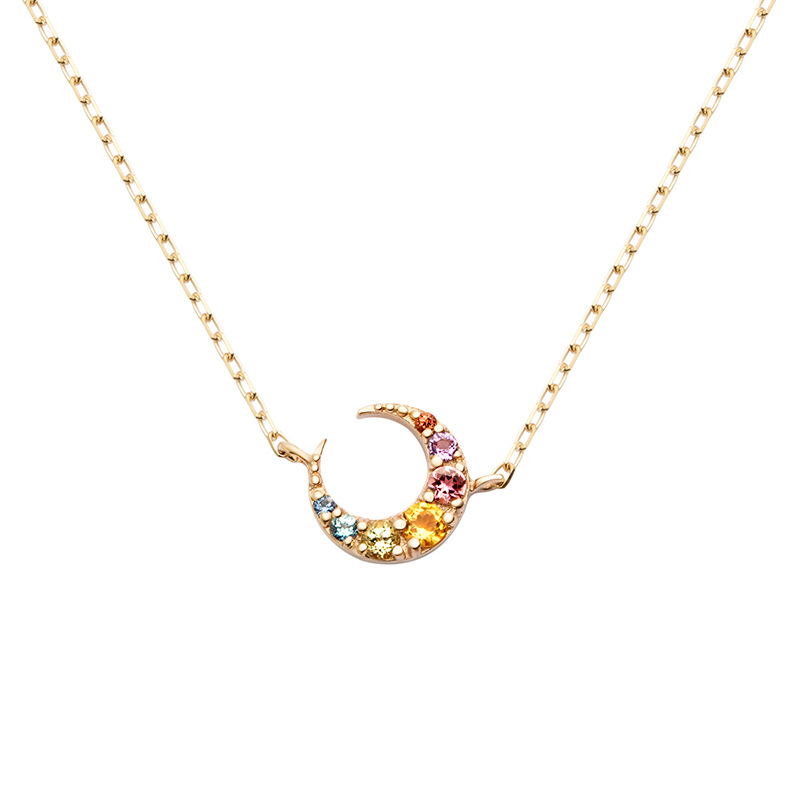 CSC1 woman fine jewelry ,deicate little moon pendant,925 silver necklace for lover tardoo golden moon pendant necklace 925 silver simple gold chain link crescent necklace women fine jewelry moon pendant necklace