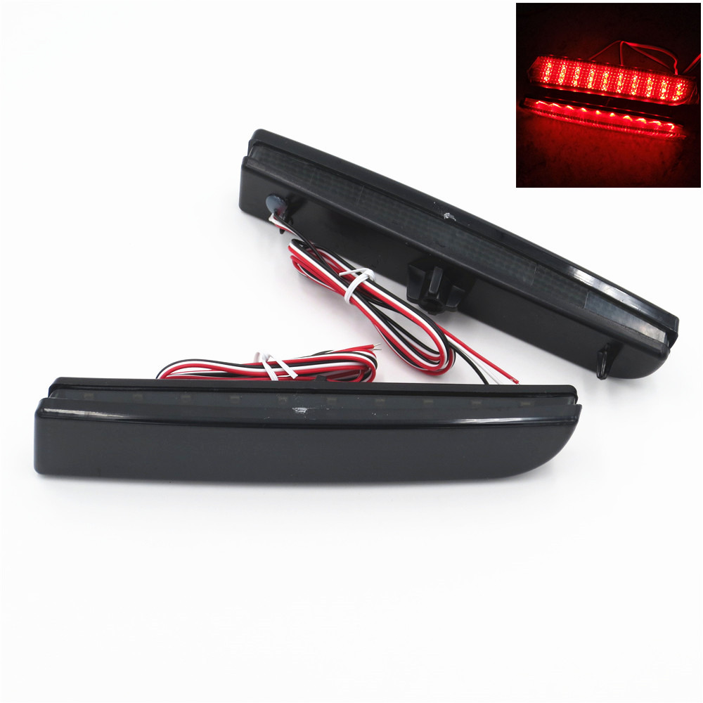 CYAN SOIL BAY 2008-14 LED Bumper Reflector Smoked Lens Tail Brake Light For Mitsubishi Lancer EVO Evolution Outlander Sport RVR