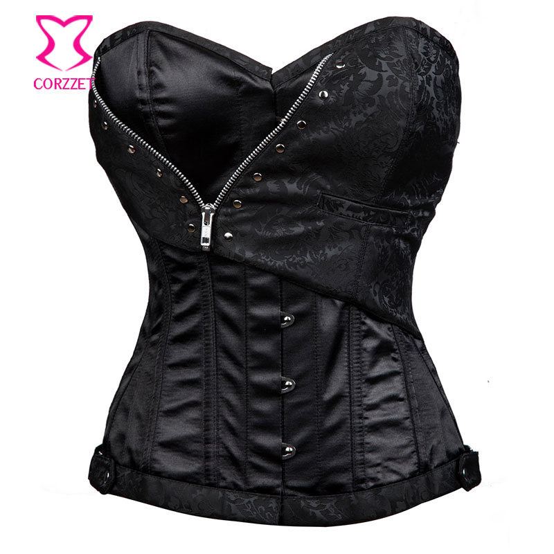 Corzzet Plus Size Bra Zipper Black Satin & Brocade