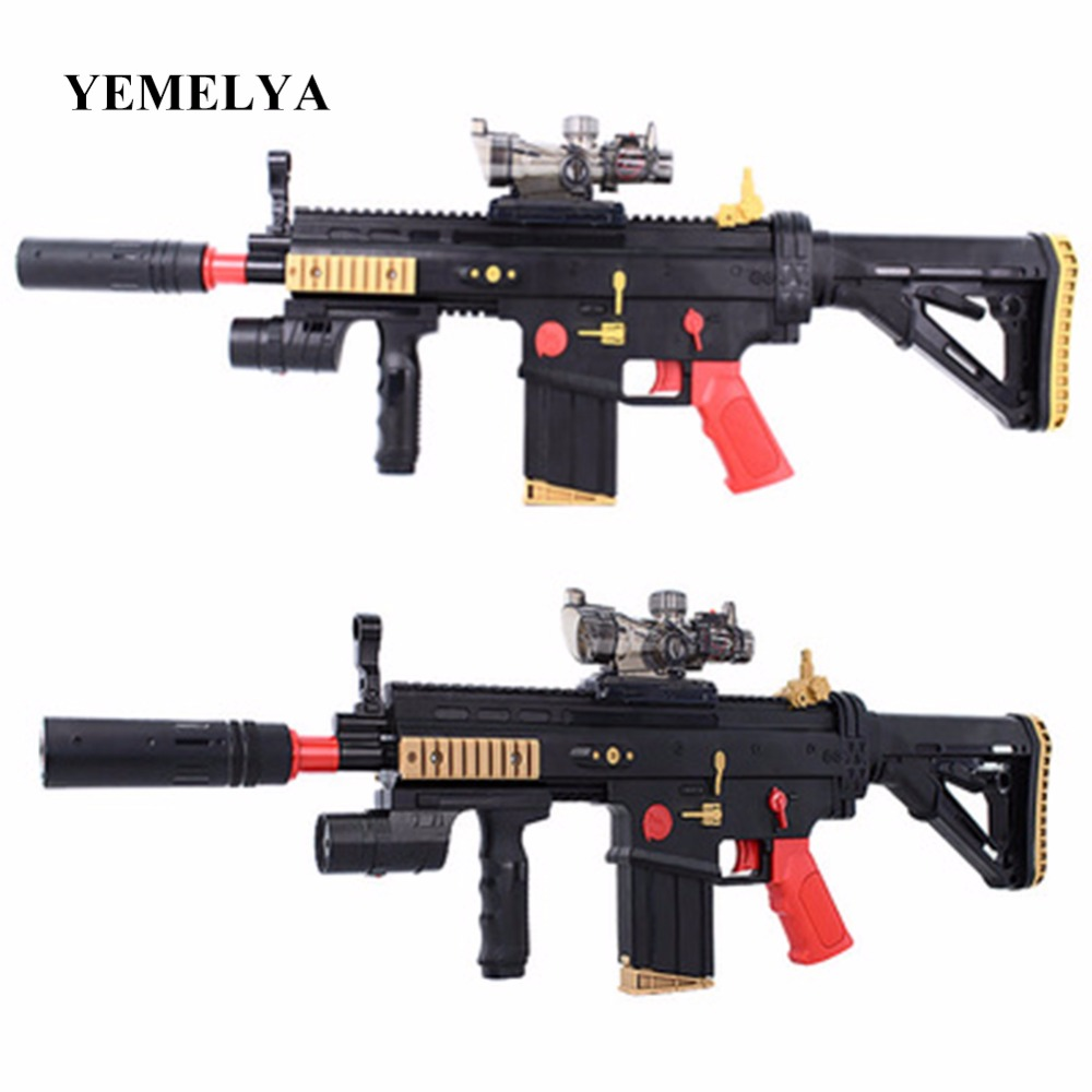Electric chain water gun SCAR assault rifle can launch soft shell crystal bomb children's toy gun assault rifle style zinc alloy gun keychain toy silvery black
