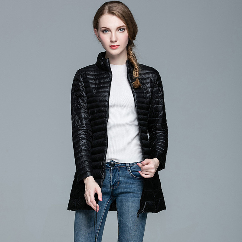 Women Winter Linght Thin   Down   Jacket Casual Stand Collar Solid Slim Plus Size Long   Coat   2018 New S M L XL XXL 3XL 4XL 8 Colors