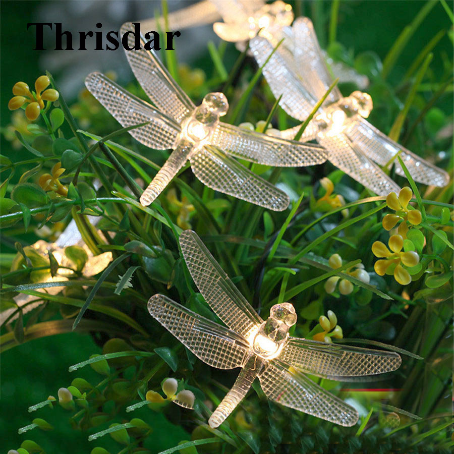 Thrisdar 6M 30 LED Outdoor Dragonfly Solar String Fairy light Waterproof Garden Christmas Light Garden Patio Yard Solar Garland