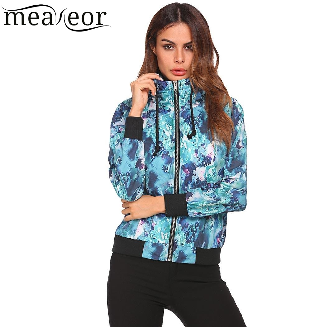 Meaneor Women Baseball   Jackets   2017 Autumn Floral Print Coat Casual Fashion Drawstring Hooded   Basic     Jacket   Long Sleeve Raincoat