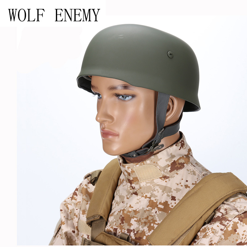 WWII German Fallschirmjager M38 Steel Helmet with Leather Liner Grey Paratrooper Helmet World War 2 German M38 Helmet safety pvc paratrooper helmet random color
