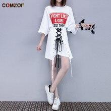 Женская летняя модная длинная футболка на шнуровке, большие размеры, футболки в стиле хип-хоп, панк-рок, топы для девочек, повязки, винтажная Готическая уличная одежда