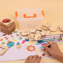Newest 100pcs board School Paint Tools Educational Coloring Book Paint Learning Coloring Board drawing board Wooden Drawing toy