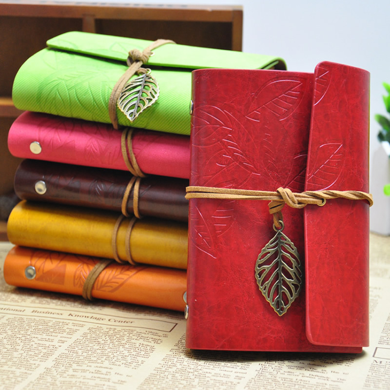 Korean Vintage Leaf Faux Leather Spiral Notebook&Journal A5 Diary Agenda 2017 Kraft Sketchbook For Travelers&School Stationery genuine leather notebook travelers journal agenda handmade planner notebooks diary caderno sketchbook school supplies