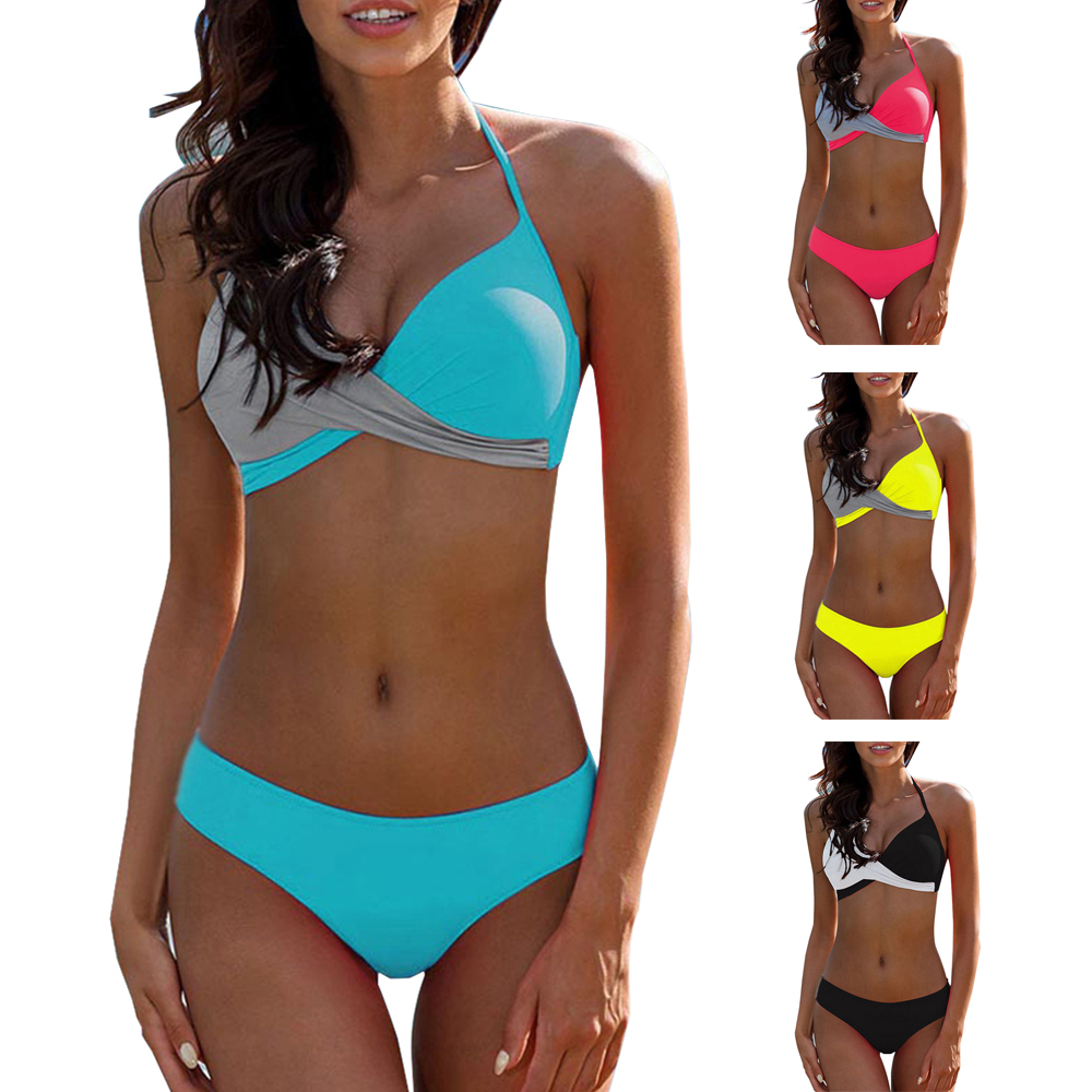 <font><b>Sexy</b></font> <font><b>Bikini</b></font> 2019 New Swimsuit <font><b>Women</b></font> <font><b>Swimwear</b></font> <font><b>Bikinis</b></font> <font><b>Set</b></font> Push Up <font><b>Swim</b></font> Suit <font><b>Women</b></font> Adult Female Splicing Backless <font><b>Bandage</b></font> <font><b>Swimwear</b></font> image