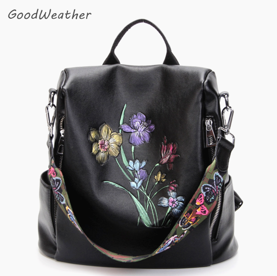 Women's flower butterfly embroidery print backpack leisure travel backpacks female high quality black PU leather shoulder bag high quality 2size butterfly flower forming follow board easy magic making template mould for fabric flower design tool
