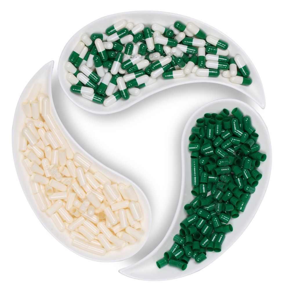 (Размер 00) 5000 штук/коробка, пустые Соединенные желатиновые капсулы для капсульные наполнители, зеленый и белый цвет
