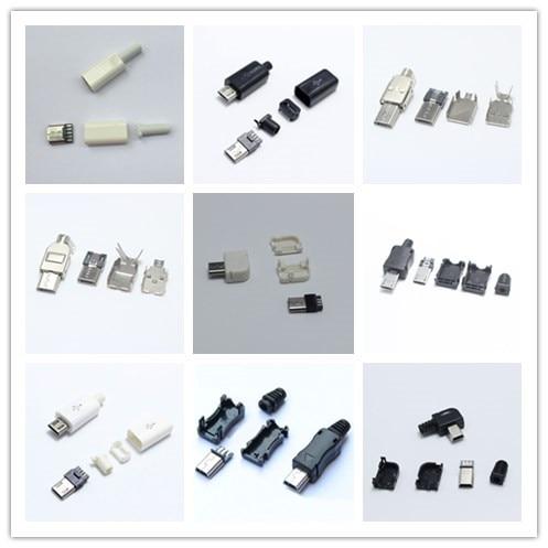 EClyxun 10sets Micro USB / Mini USB /USB 2.0 Male Plug Connector DIY White Black Plugs Data Line Charging Cable Terminals