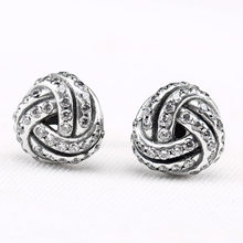 1f75adcfc Authentic 925 Sterling Silver Earring Sparkling Love Knot With Crystal Studs  Earring For Women Wedding Gift Fine Pandora Jewelry