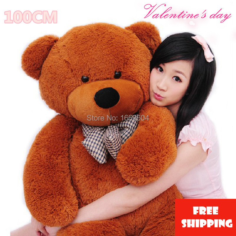 Big Teddy Bear Stuffed Toys The Straight Length 100CM Life Size Teddy Bear  Giant Stuffed Bear Toys For Girls Birthday Gift In Stuffed U0026 Plush Animals  From ...