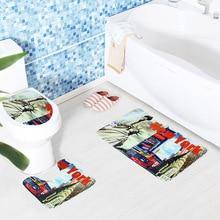 PVC Mesh Thicken Coral Fleece Floor Bath Mats Set Non Slip Bathroom Toliet Rugs