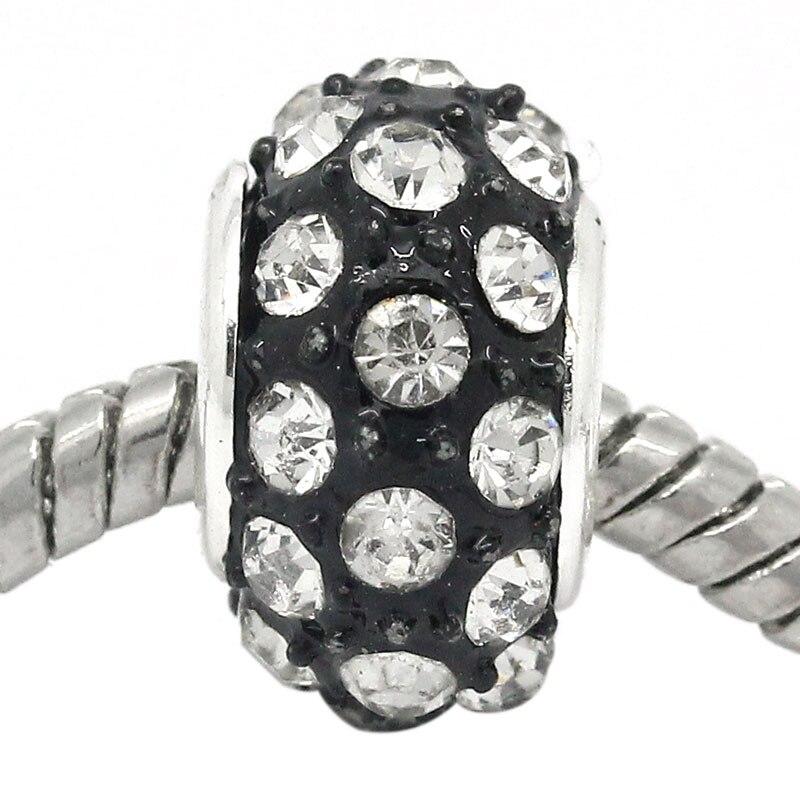DoreenBeads Copper European Charm Beads Round Black W/Clear Rhinestone 14x8mm,Hole:Approx:4.8mm,5PCs 2015 new