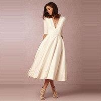U SWEAR Autumn Dress White Elegant Plus Size V Neck Long Dress Half Sleeve Office Lady Party Dress Ceremony Robe Femme Ete