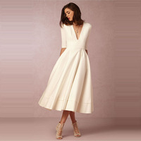 U SWEAR Autumn Dress White Elegant Plus Size V Neck Long Dress Half Sleeve Office Lady Party Dress Ceremony Robe Femme Ete